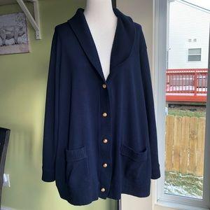 Ralph Lauren Navy shawl collar cardigan sweater 3X